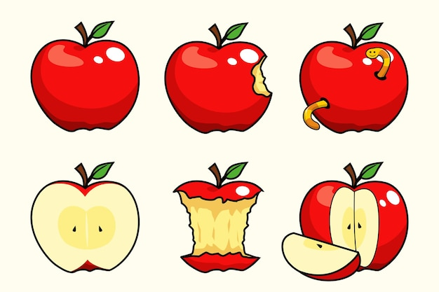 Caricature de collections de fruits de pomme