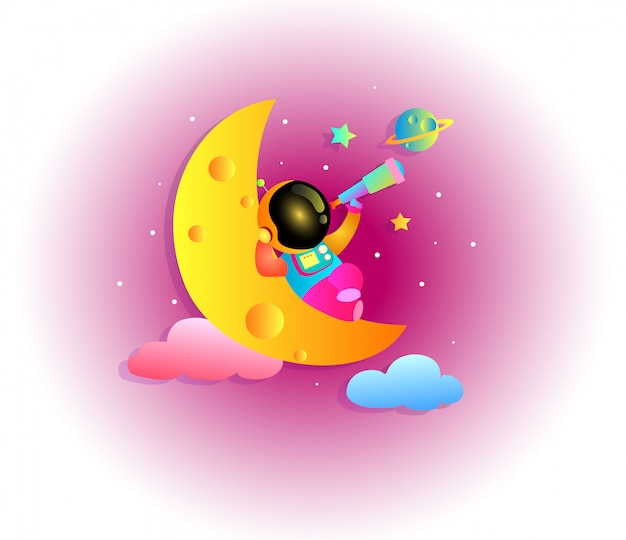 Caricature colorée d'astronaute