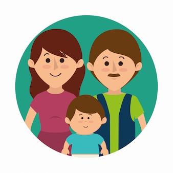 Caricature colorée familiale