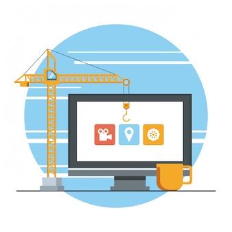 Caricature de concept de support de maintenance de périphérique de technologie