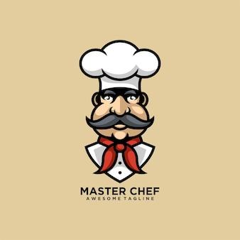 Caricature de conception de logo maître chef