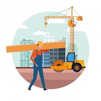 Caricature de constructeur de construction