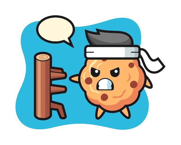 Caricature de cookie aux pépites de chocolat comme combattant de karaté