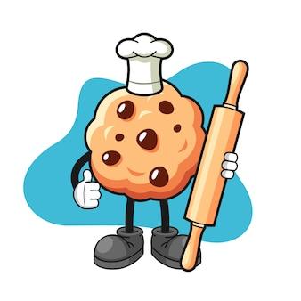 Caricature de cookie aux pépites de chocolat avec les pouces vers le haut de pose
