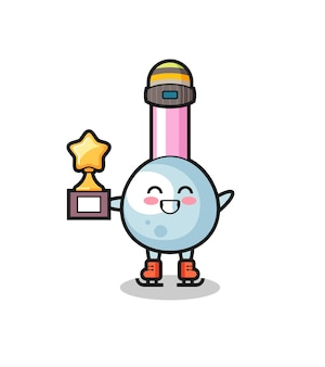Caricature de coton-tige en tant que joueur de patinage sur glace tenant le trophée du vainqueur, design de style mignon pour t-shirt, autocollant, élément de logo