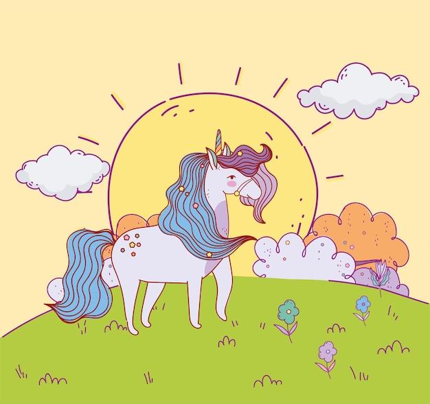 Caricature de coucher de soleil licorne