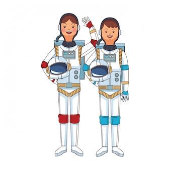 Caricature de couple astronaute de l'espace