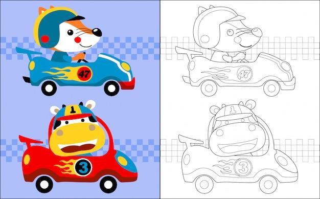 Caricature de course automobile avec coureur drôle