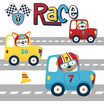 Caricature de course drôle avec des animaux marrants