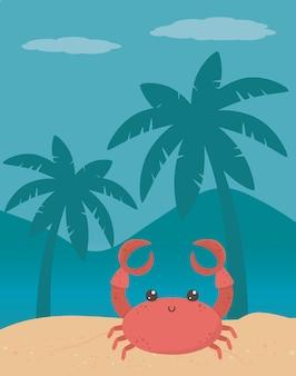 Caricature de crabe à la plage