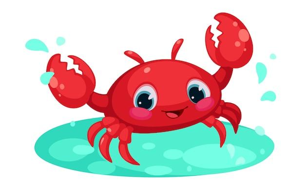 Caricature de crabe rouge mignon dans l'étang d'eau