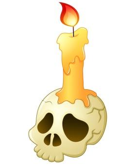 Caricature de crâne et de bougie
