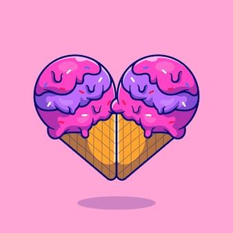 Caricature de crème glacée coeur d'amour