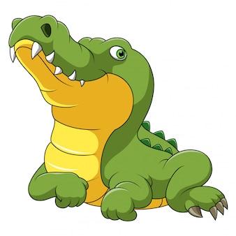 Caricature de crocodile heureux