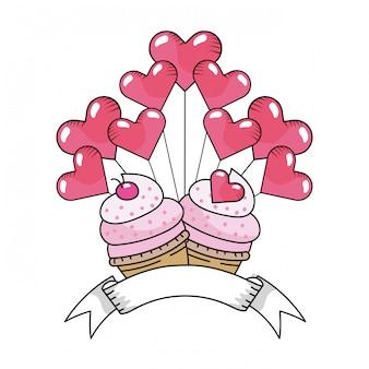 Caricature de cupcakes de boulangerie de jour de valntines