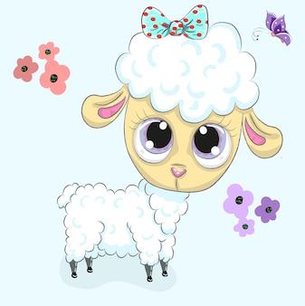 Caricature de bébé agneau mignon dessinés à la main