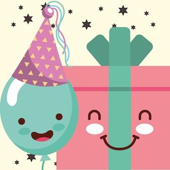 Caricature de boîte de cadeau de kawaii et fête de chapeau de ballon de sourire