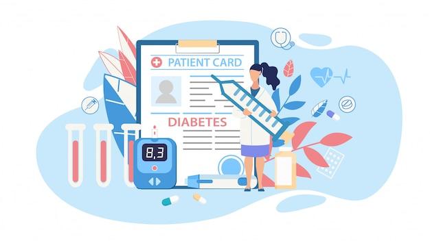 Caricature de découpe médicale de thérapie de contrôle du diabète
