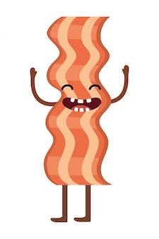 Caricature de délicieux bacon kawaii