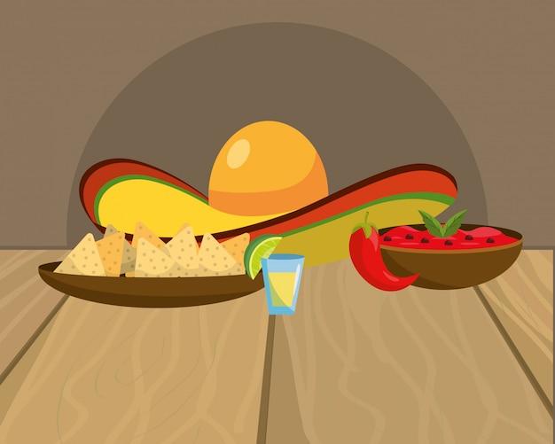 Caricature de délicieux plats mexicains sur la table de restaurant