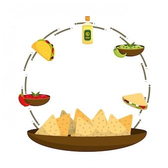 Caricature de délicieux plats mexicains