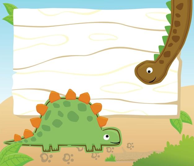 Caricature de dessin animé de dinosaures sur la bordure du cadre