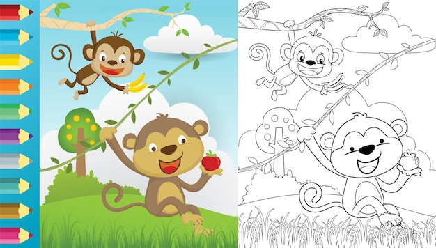 Caricature de deux singes accrocher tout en tenant des fruits sur la nature, un livre de coloriage ou une page
