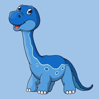 Caricature de dinosaure brontosaure, dessiné à la main, vecteur