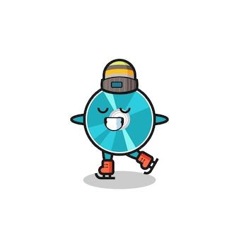 Caricature de disque optique en tant que joueur de patinage sur glace faisant des performances, design de style mignon pour t-shirt, autocollant, élément de logo