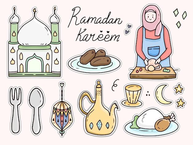 Caricature de doodle autocollant de cuisine ramadan kareem