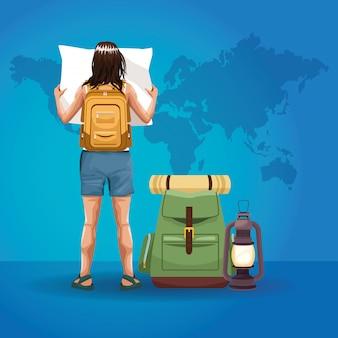 Caricature de dos de touriste voyageur
