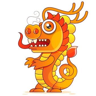 Caricature de dragon traditionnel chinois ancien rouge et orange sur fond blanc