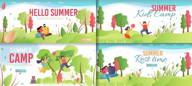 Caricature du camp de repos estival et des enfants.