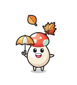 Caricature du champignon mignon tenant un parapluie en automne, design de style mignon pour t-shirt, autocollant, élément de logo