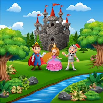 Caricature du chevalier avec couple princesse et prince dans la page du château