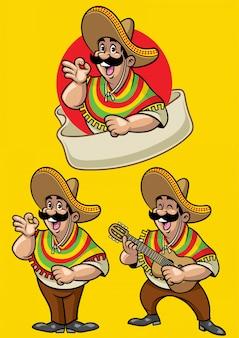 Caricature du jeu de caractères mexicain