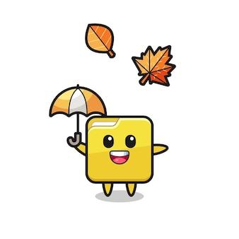 Caricature du joli dossier tenant un parapluie en automne, design de style mignon pour t-shirt, autocollant, élément de logo