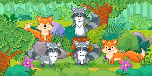 Caricature du magnifique paysage avec différents animaux