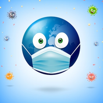 Caricature du monde portant un masque chirurgical pour protéger le virus