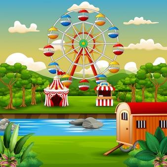 Caricature du parc d'attractions avec nature paysage
