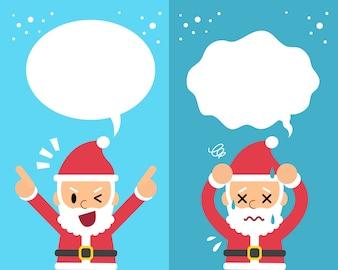 Caricature du père Noël exprimant différentes émotions avec des bulles