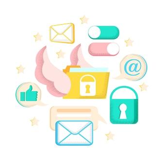 Caricature d'échange de courriers électroniques avec technologie d'affiche lumineuse