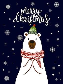 Caricature d'écharpe d'ours polaire avec le festival de noël