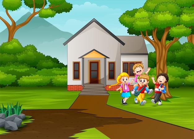 Caricature d'écoliers devant la maison