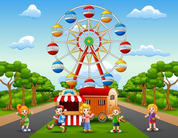 Caricature d'écoliers s'amusant au parc d'attractions