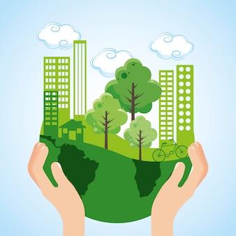 Caricature d'écologie de ville verte