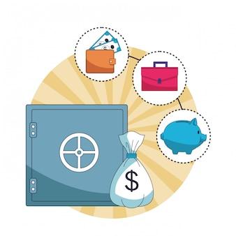 Caricature d'économie d'argent