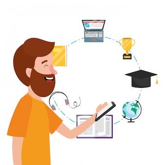 Caricature d'éducation en ligne