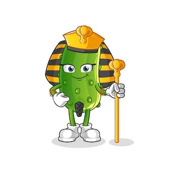Caricature de l'égypte ancienne de concombre. mascotte de dessin animé