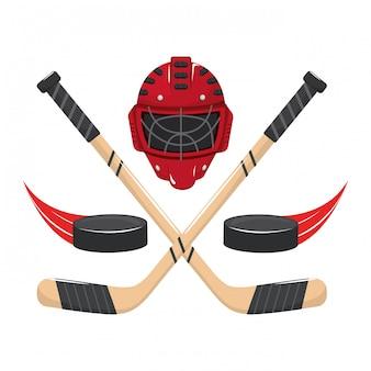 Caricature d'éléments de hockey sur glace